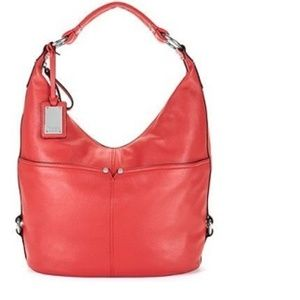 Tignanello Polished Pockets Leather Hobo/Red